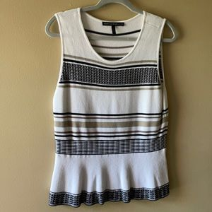 WHBM Striped sweater tank w/Peplum detail